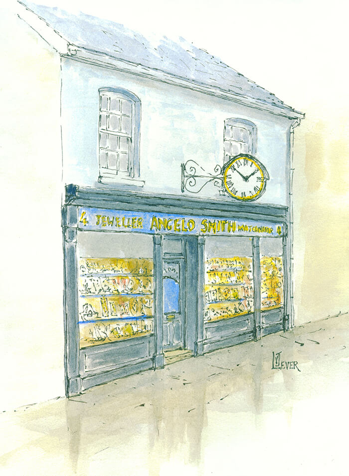 A watercolour painting of Angelo Smith shop exterior.
