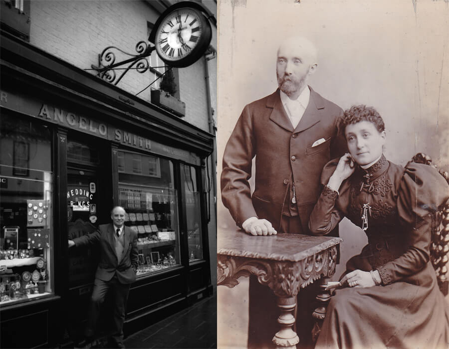 Left: Peter Smith outside the shop. Right: Angelo Smith stands next to his seated wife.